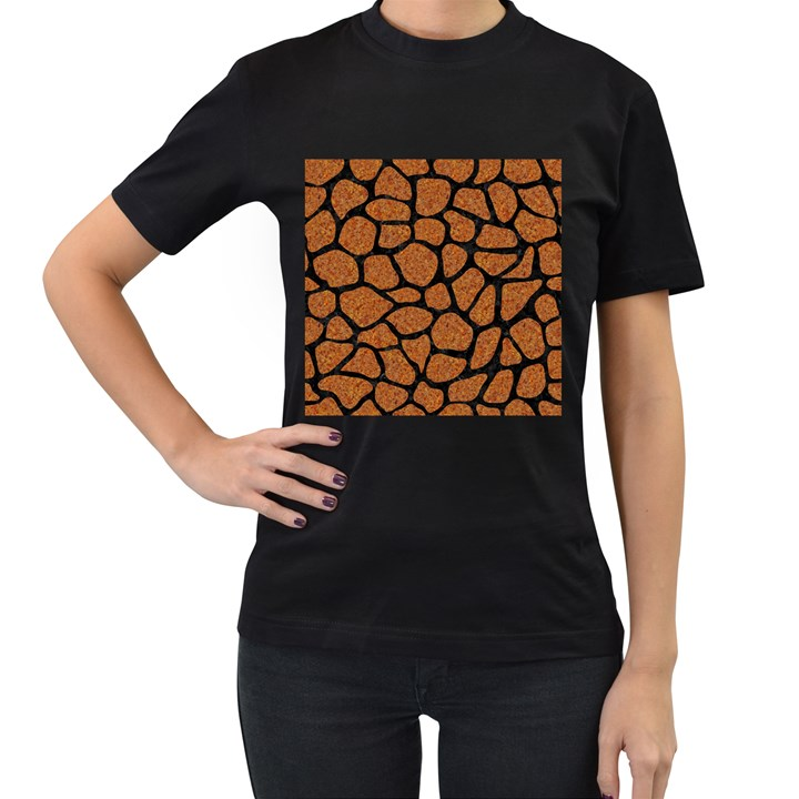 SKIN1 BLACK MARBLE & RUSTED METAL (R) Women s T-Shirt (Black) (Two Sided)