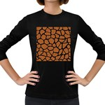 SKIN1 BLACK MARBLE & RUSTED METAL (R) Women s Long Sleeve Dark T-Shirts Front