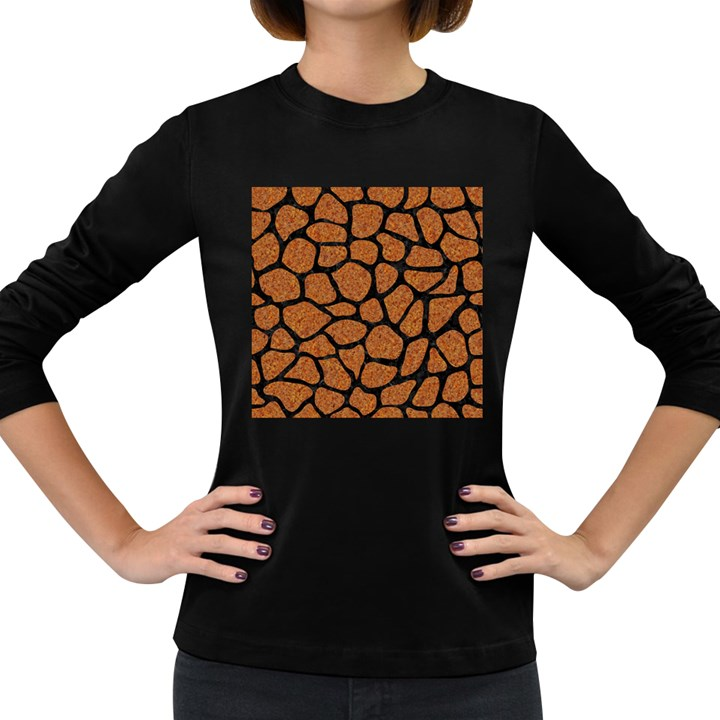 SKIN1 BLACK MARBLE & RUSTED METAL (R) Women s Long Sleeve Dark T-Shirts
