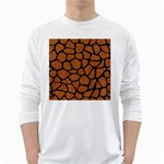 SKIN1 BLACK MARBLE & RUSTED METAL (R) White Long Sleeve T-Shirts