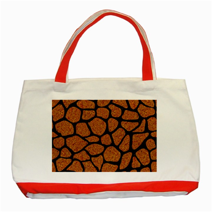 SKIN1 BLACK MARBLE & RUSTED METAL (R) Classic Tote Bag (Red)