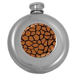 SKIN1 BLACK MARBLE & RUSTED METAL (R) Round Hip Flask (5 oz) Front