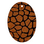 SKIN1 BLACK MARBLE & RUSTED METAL (R) Oval Ornament (Two Sides)