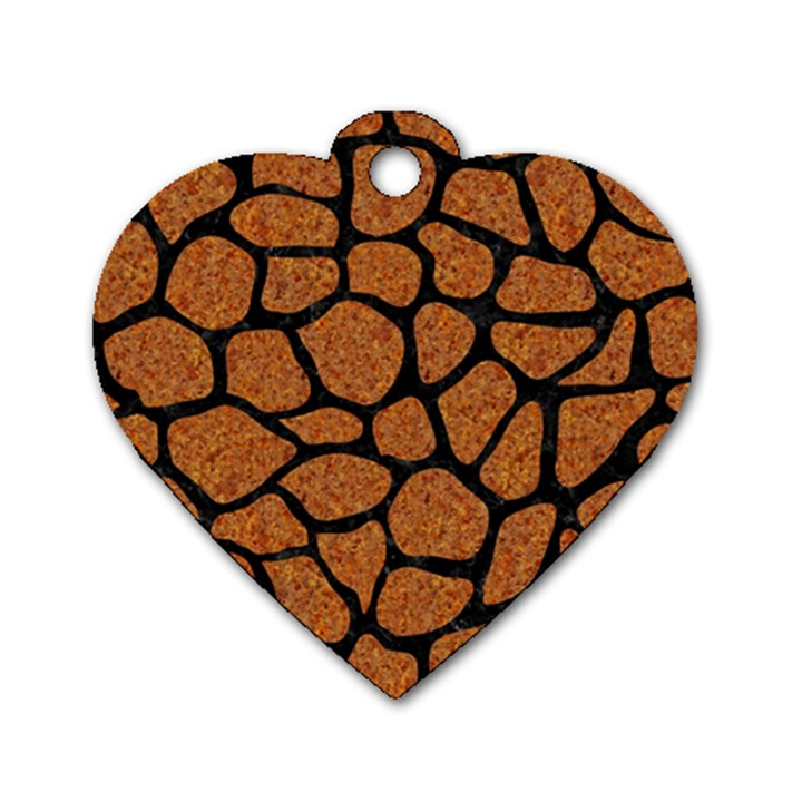 SKIN1 BLACK MARBLE & RUSTED METAL (R) Dog Tag Heart (One Side)