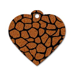 Skin1 Black Marble & Rusted Metal (r) Dog Tag Heart (two Sides)