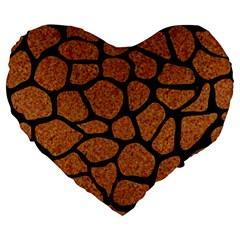 Skin1 Black Marble & Rusted Metal (r) Large 19  Premium Flano Heart Shape Cushions by trendistuff