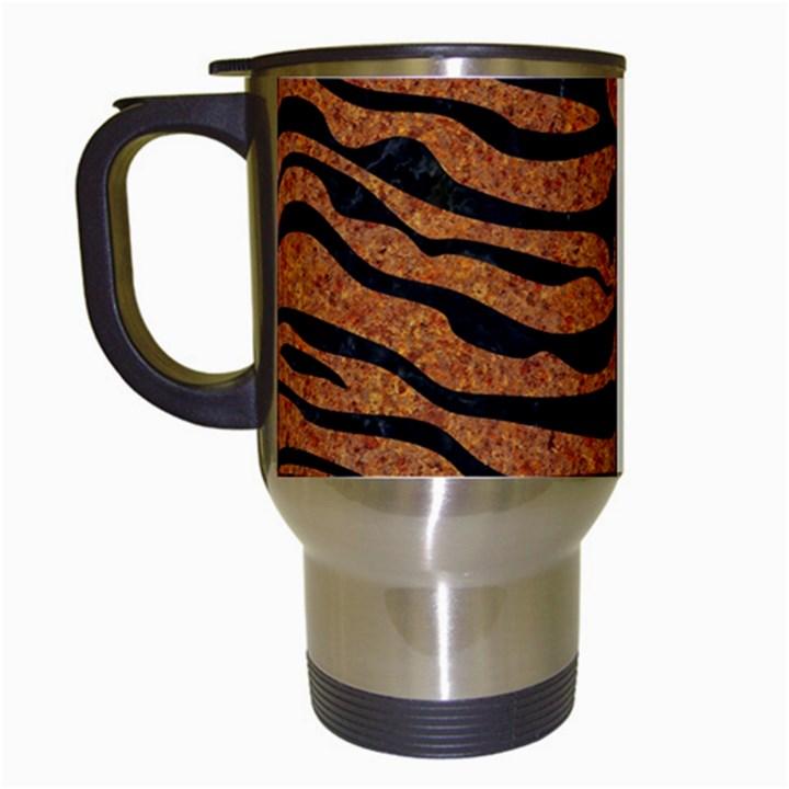 SKIN2 BLACK MARBLE & RUSTED METAL Travel Mugs (White)