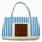 SKIN2 BLACK MARBLE & RUSTED METAL Striped Blue Tote Bag Front