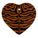 SKIN2 BLACK MARBLE & RUSTED METAL Heart Ornament (Two Sides)