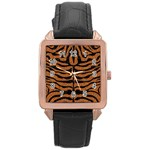 SKIN2 BLACK MARBLE & RUSTED METAL Rose Gold Leather Watch