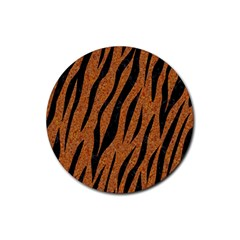SKIN3 BLACK MARBLE & RUSTED METAL Rubber Coaster (Round)