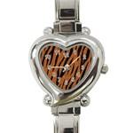 SKIN3 BLACK MARBLE & RUSTED METAL Heart Italian Charm Watch
