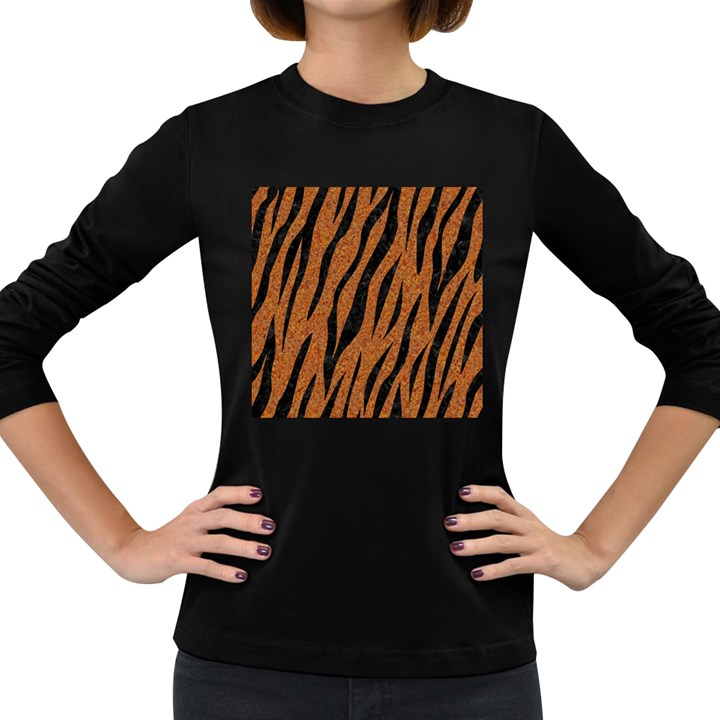 SKIN3 BLACK MARBLE & RUSTED METAL Women s Long Sleeve Dark T-Shirts