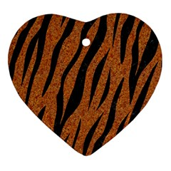 SKIN3 BLACK MARBLE & RUSTED METAL Heart Ornament (Two Sides)