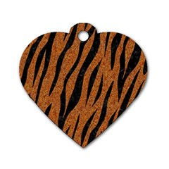 SKIN3 BLACK MARBLE & RUSTED METAL Dog Tag Heart (Two Sides)