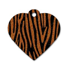 Skin4 Black Marble & Rusted Metal Dog Tag Heart (two Sides) by trendistuff