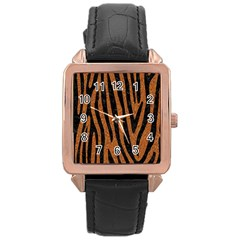 Skin4 Black Marble & Rusted Metal (r) Rose Gold Leather Watch  by trendistuff
