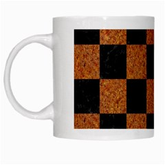 Square1 Black Marble & Rusted Metal White Mugs by trendistuff