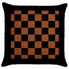 Square1 Black Marble & Rusted Metal Throw Pillow Case (black) by trendistuff