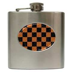 Square1 Black Marble & Rusted Metal Hip Flask (6 Oz) by trendistuff