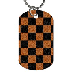 Square1 Black Marble & Rusted Metal Dog Tag (two Sides) by trendistuff