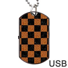 Square1 Black Marble & Rusted Metal Dog Tag Usb Flash (one Side) by trendistuff