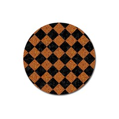 Square2 Black Marble & Rusted Metal Magnet 3  (round) by trendistuff