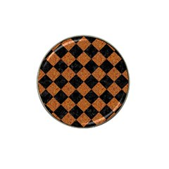 Square2 Black Marble & Rusted Metal Hat Clip Ball Marker by trendistuff