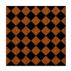Square2 Black Marble & Rusted Metal Face Towel by trendistuff