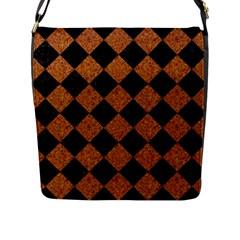 Square2 Black Marble & Rusted Metal Flap Messenger Bag (l)  by trendistuff