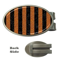 Stripes1 Black Marble & Rusted Metal Money Clips (oval)  by trendistuff