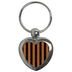 Stripes1 Black Marble & Rusted Metal Key Chains (heart)  by trendistuff