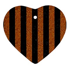 Stripes1 Black Marble & Rusted Metal Heart Ornament (two Sides) by trendistuff