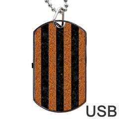 Stripes1 Black Marble & Rusted Metal Dog Tag Usb Flash (two Sides) by trendistuff
