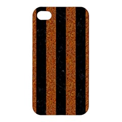 Stripes1 Black Marble & Rusted Metal Apple Iphone 4/4s Premium Hardshell Case by trendistuff