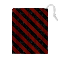 Stripes3 Black Marble & Reddish Brown Wood Drawstring Pouches (extra Large)