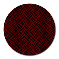 Woven2 Black Marble & Reddish Brown Wood Round Mousepads by trendistuff