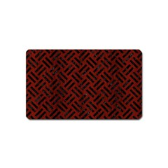 Woven2 Black Marble & Reddish Brown Wood Magnet (name Card) by trendistuff