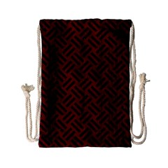 Woven2 Black Marble & Reddish Brown Wood Drawstring Bag (small) by trendistuff