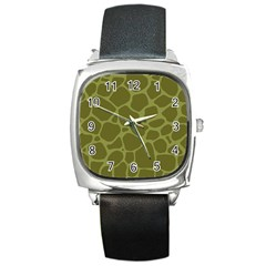Autumn Animal Print 1 Square Metal Watch by tarastyle