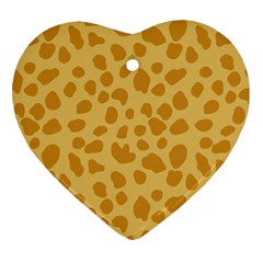 Autumn Animal Print 2 Heart Ornament (two Sides) by tarastyle