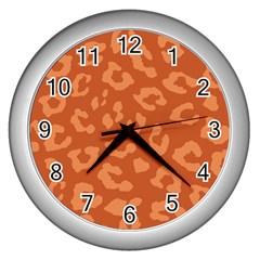 Autumn Animal Print 3 Wall Clocks (silver)  by tarastyle