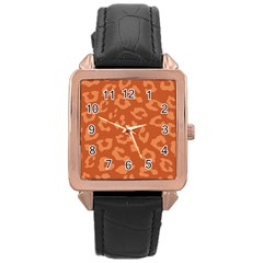 Autumn Animal Print 3 Rose Gold Leather Watch  by tarastyle