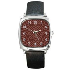 Autumn Animal Print 5 Square Metal Watch by tarastyle