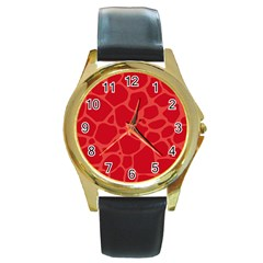 Autumn Animal Print 6 Round Gold Metal Watch by tarastyle