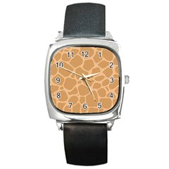 Autumn Animal Print 10 Square Metal Watch by tarastyle