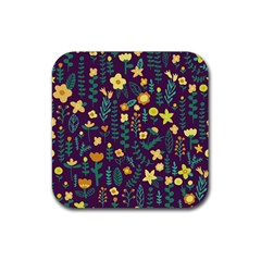 Cute Doodle Flowers 2 Rubber Square Coaster (4 Pack)  by tarastyle