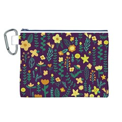 Cute Doodle Flowers 2 Canvas Cosmetic Bag (l) by tarastyle