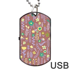 Cute Doodle Flowers 3 Dog Tag Usb Flash (two Sides) by tarastyle