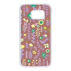 Cute Doodle Flowers 3 Samsung Galaxy S7 White Seamless Case by tarastyle